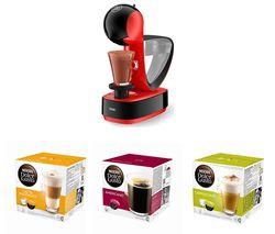 DOLCE GUSTO by De'Longhi Infinissima EDG260.R Coffee Machine & Pods Bundle - Macchiato, Americano & Cappuccino