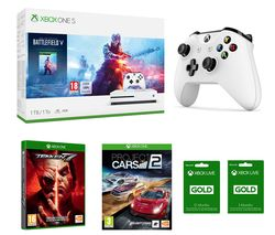 MICROSOFT Xbox One S, Battlefield V, Project Cars 2, Tekken 7, Wireless Controller & Xbox LIVE Gold Membership x 2 Bundle