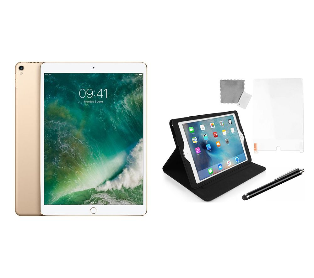 APPLE 10.5″ iPad Pro Cellular (2017) & Black iPad Pro Starter Kit Bundle – 64 GB, Gold, Black