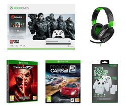 MICROSOFT Xbox One S Gears 5 Special Edition, Tekken 7, Project Cars 2, Recon 70X Gaming Headset & Twin Docking Station Bundle