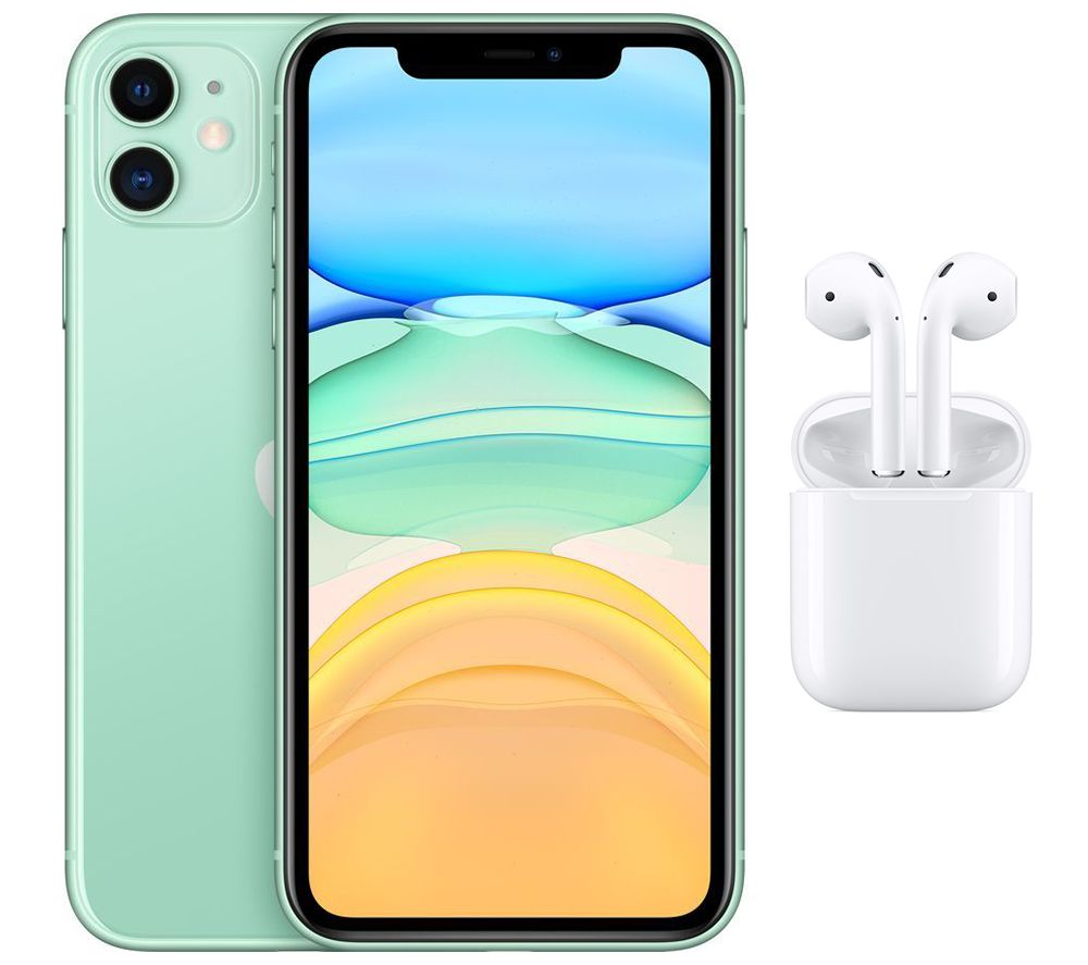APPLE iPhone 11 & AirPods with Charging Case (2nd generation) Bundle - 64 GB, Green, Green