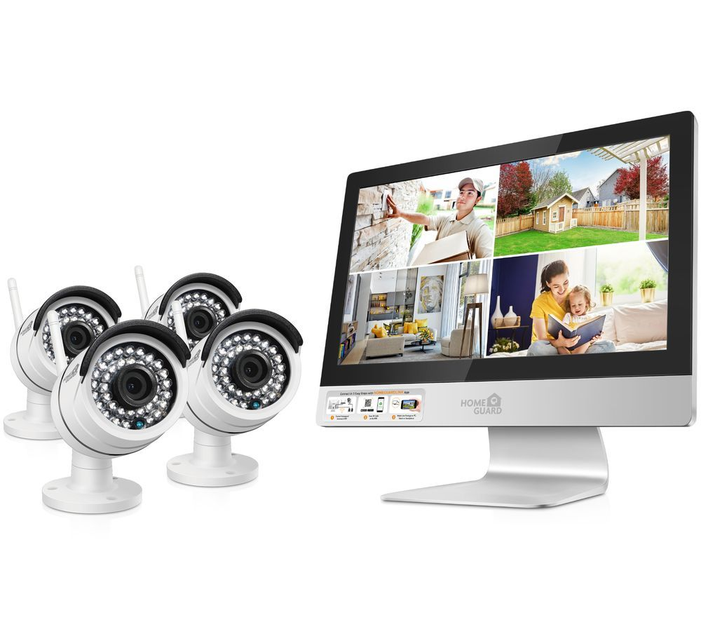 Image of HOMEGUARD 4-Channel HD Ready Wireless All-in-One CCTV Kit - 1 TB, 4 Cameras, Snow
