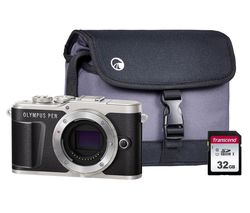 PEN E-PL9 Mirrorless Camera with 32 GB SD Card & Case - Black, Body Only