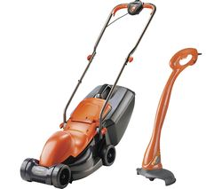 Easimo Corded Rotary Lawn Mower & Mini Trim Grass Trimmer Pack - Orange