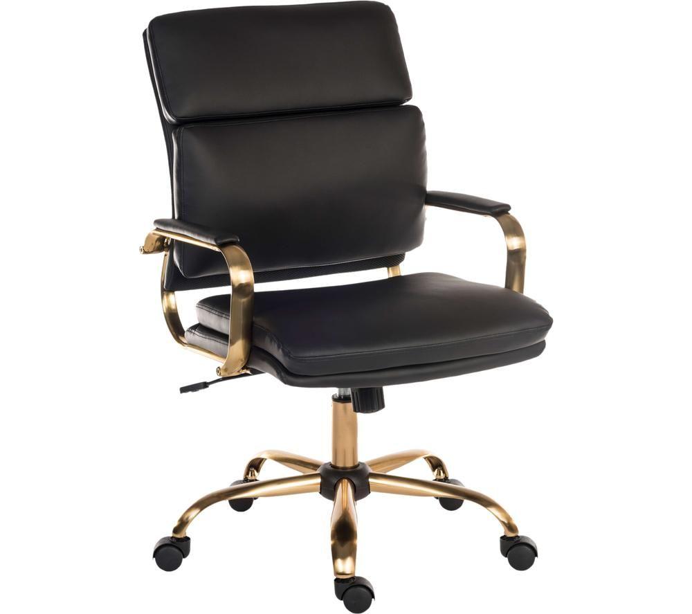 TEKNIK Vintage Faux-Leather Tilting Executive Chair - Black & Brass