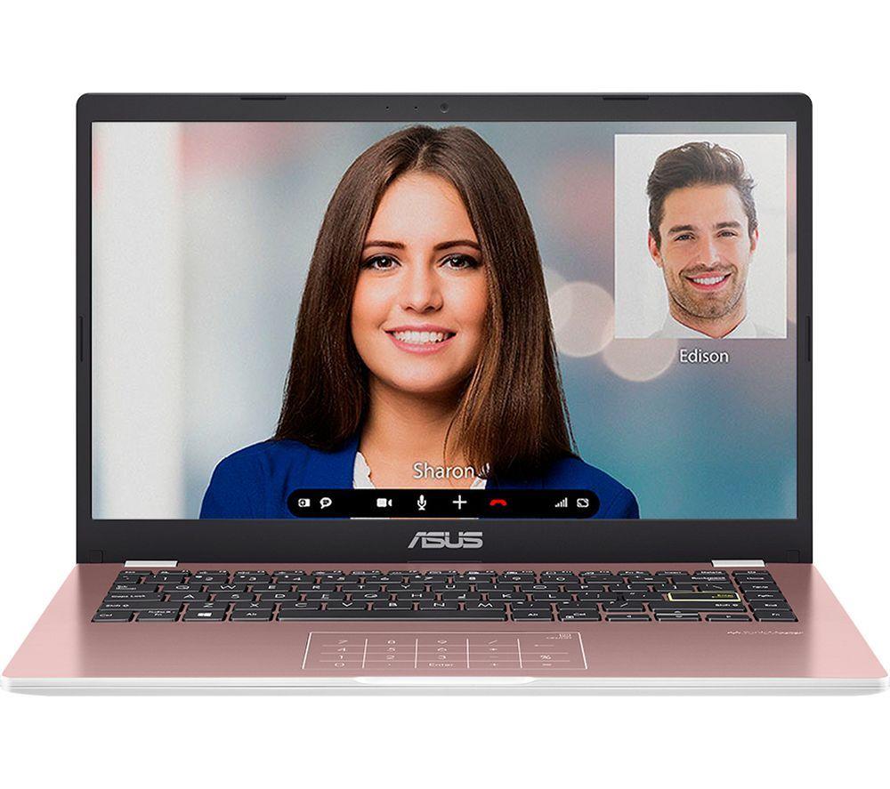 """Image of ASUS E410MA 14"""" Laptop - Intel®Celeron, 64 GB eMMC, Pink, Pink"""