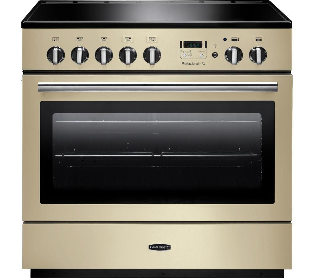 RANGEMASTER Professional+ 90 FX Electric Induction Range Cooker - Cream & Chrome