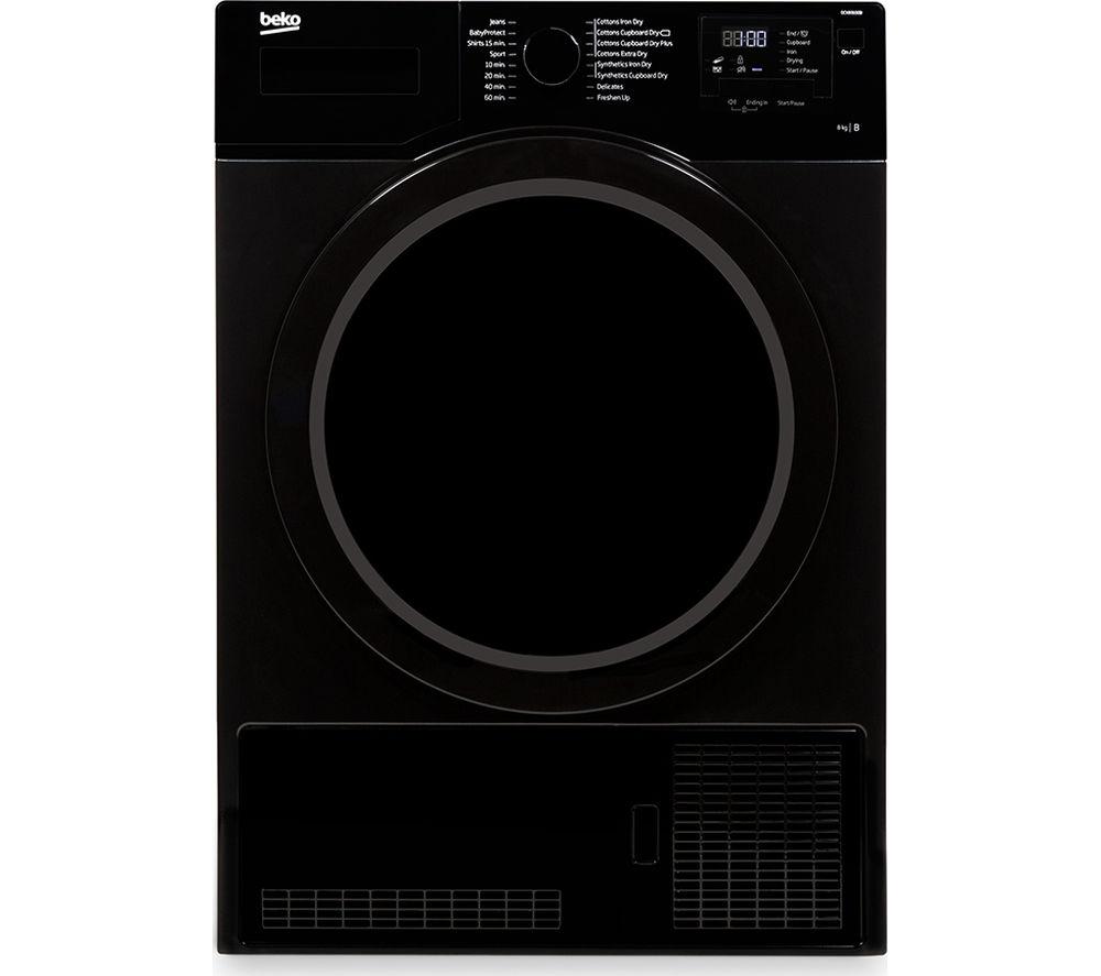 BEKO DCX83100B Condenser Tumble Dryer - Black + DFS05X10W Slimline Dishwasher - White
