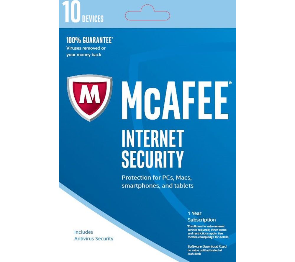 MCAFEE Internet Security 2016 - 10 users for 1 year