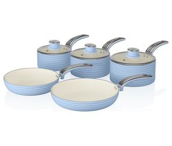 Retro 5-piece Non-stick Pan Set - Blue