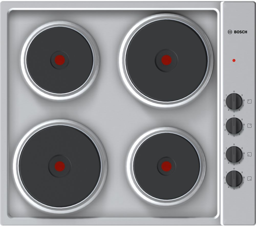 Image of BOSCH Serie 2 PEE689CA1 Electric Solid Plate Hob - Steel, Red