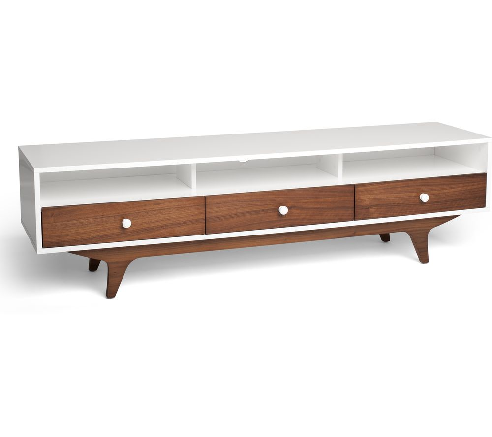 Image of TECHLINK Symmetry SM160SWTW 1600 mm TV Stand - Satin White & Walnut, White