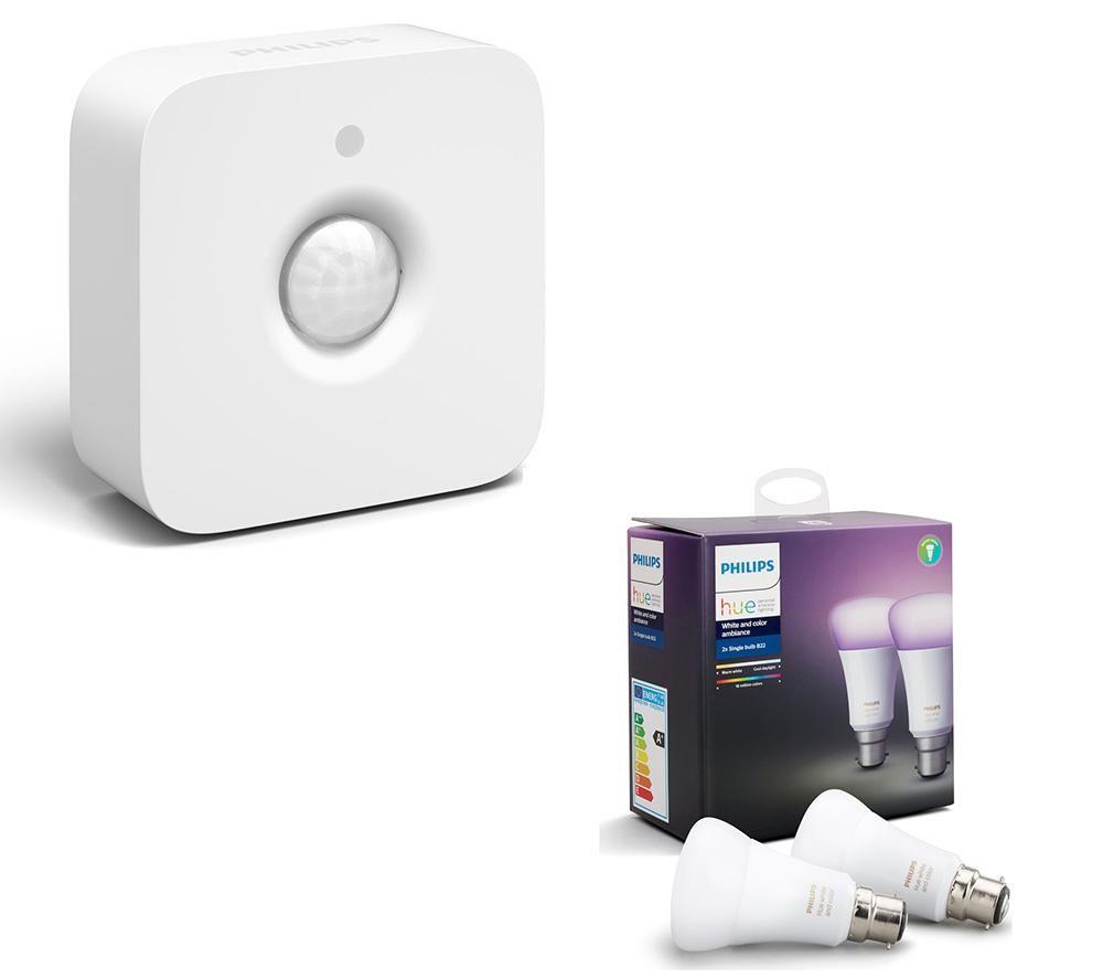 buy philips hue white colour ambience b22 bulb twin pack motion sensor bundle free. Black Bedroom Furniture Sets. Home Design Ideas