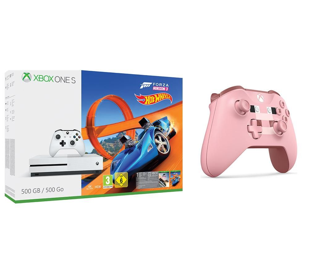 Image of MICROSOFT Xbox One S with Forza 3, Hot Wheels Expansion & Minecraft Pig Controller Bundle