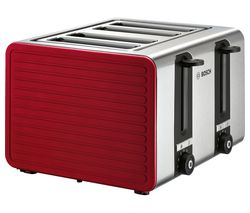 BOSCH TAT7S44GB 4-Slice Toaster - Red & Silver