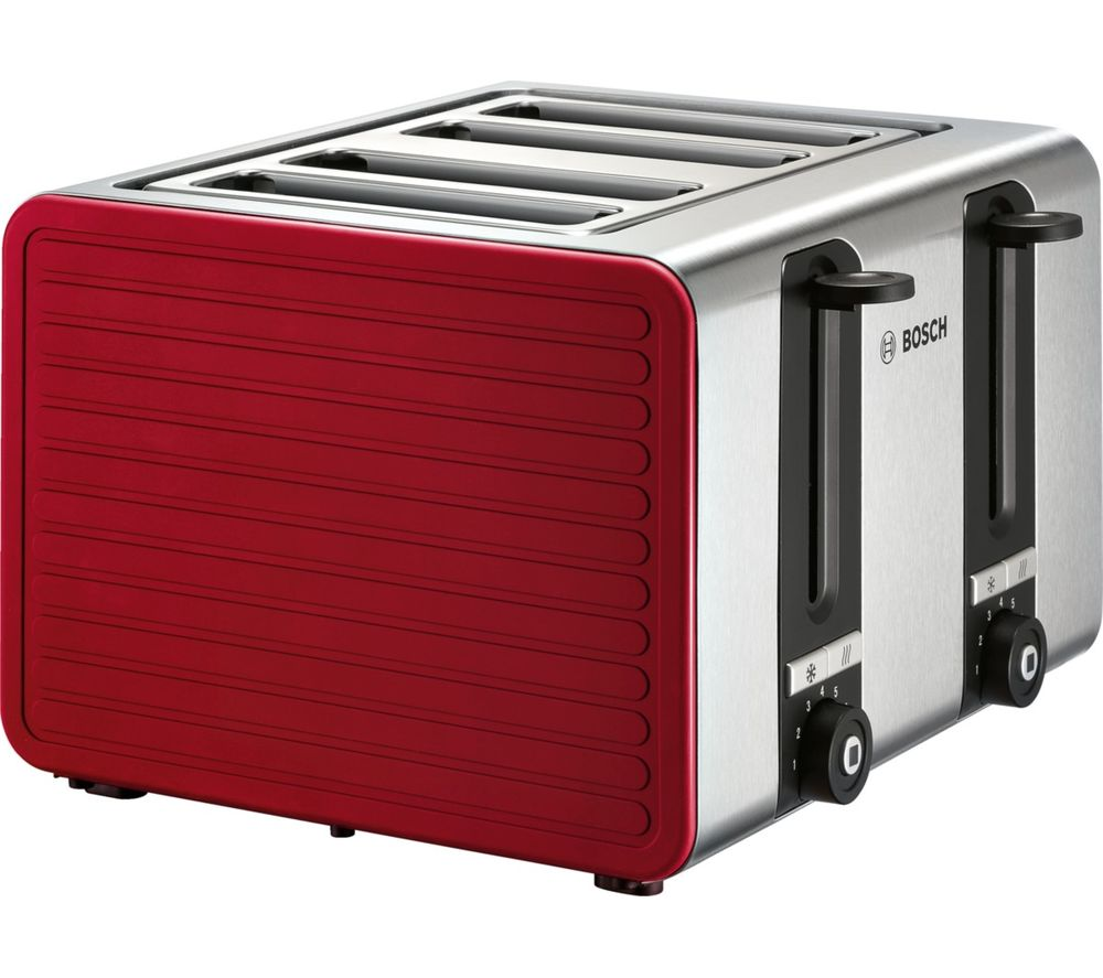 BOSCH TAT7S44GB 4-Slice Toaster - Red & Silver, Red