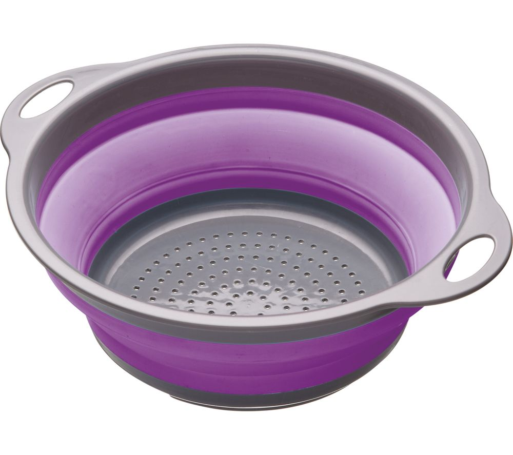 Image of Collapsible Colander - Grey & Purple, Grey