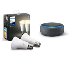 Hue White Bluetooth LED B22 Bulb Twin Pack & Echo Dot (2018) - Charcoal