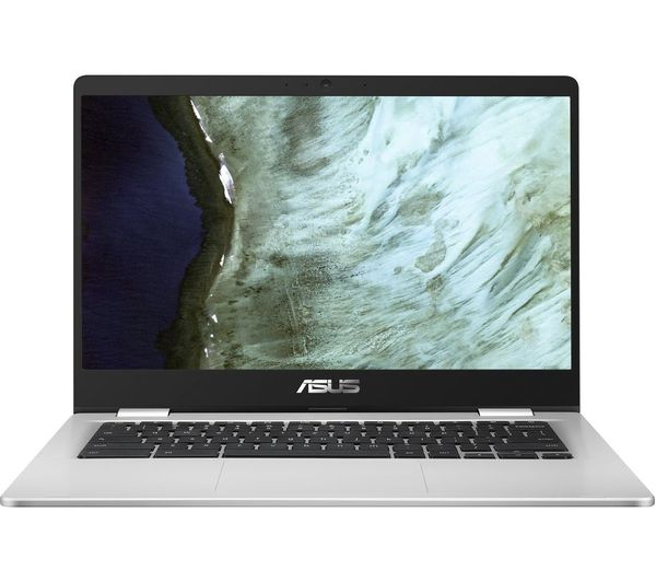 "Image of ASUS C423 14"" Chromebook - Intel®Celeron™, 64 GB eMMC, Black & Silver, Black"
