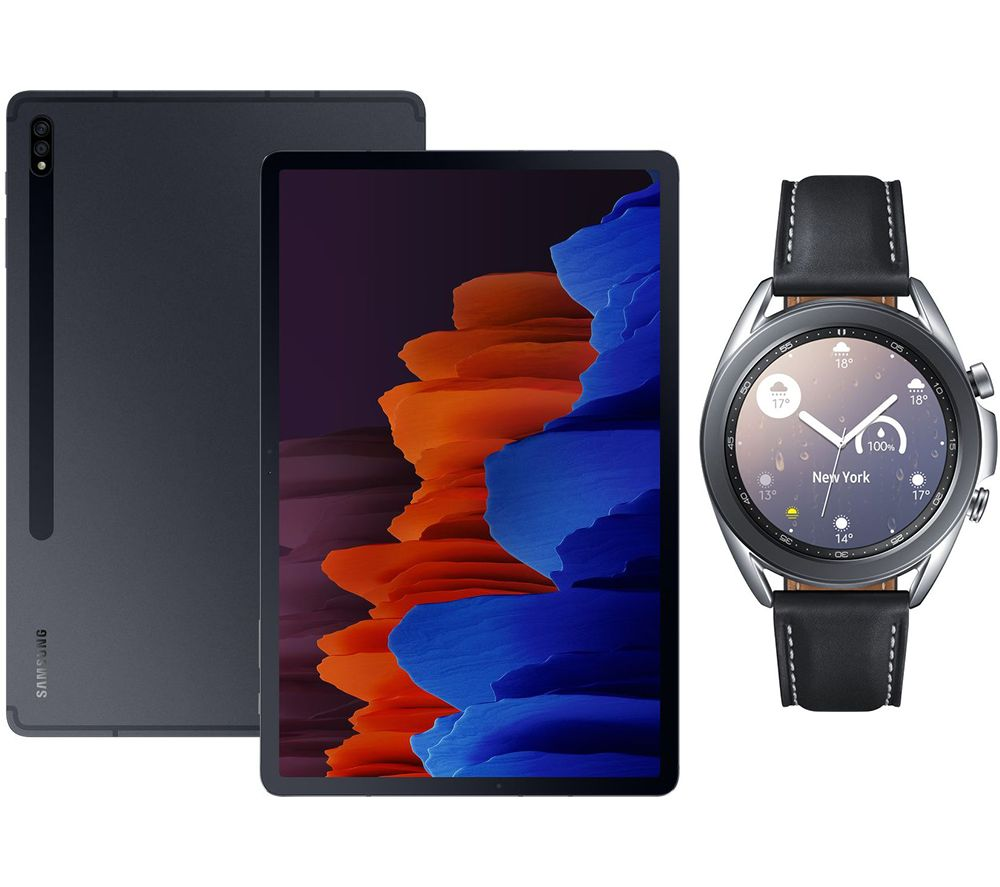 "Image of SAMSUNG Galaxy Tab S7 Plus 12.4"" Tablet & Silver Galaxy Watch3 Bundle, Silver"