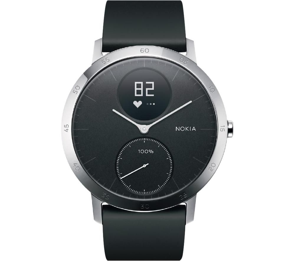 WITHINGS Steel HR Smartwatch - Black, Silicone Strap, 40 mm, Black