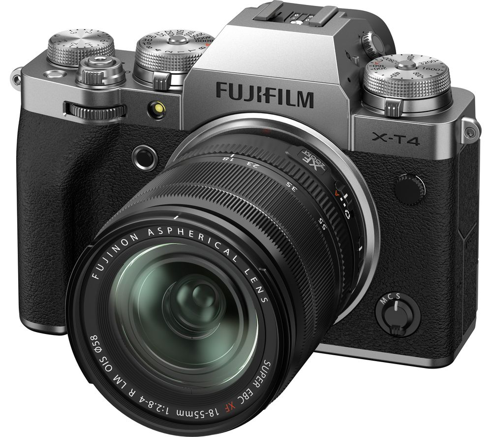 Fujifilm X T4 Mirrorless Camera With Fujinon Xf 18 55 Mm F 28 4 R Lm Ois Lens Silver Silver