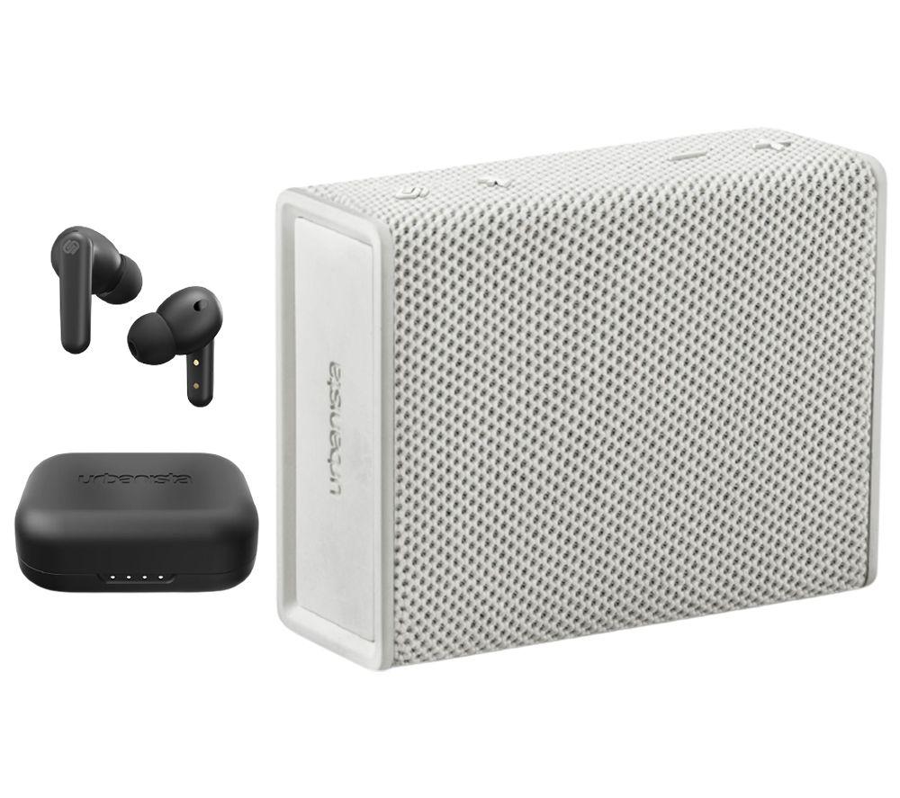 URBANISTA London Wireless Bluetooth Noise-Cancelling Earphones & Sydney Portable Speaker Bundle - Black & White