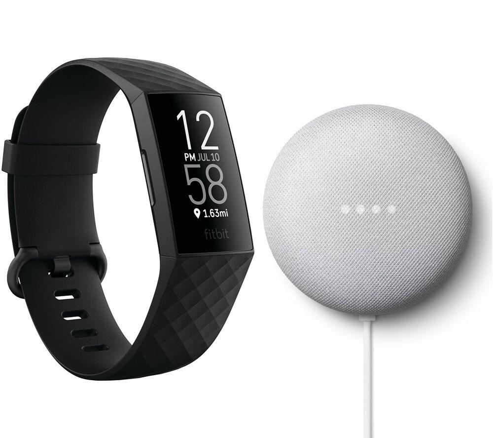 FITBIT Charge 4 Fitness Tracker & Google Nest Mini (2nd Gen) Bundle - Black & Chalk, Black
