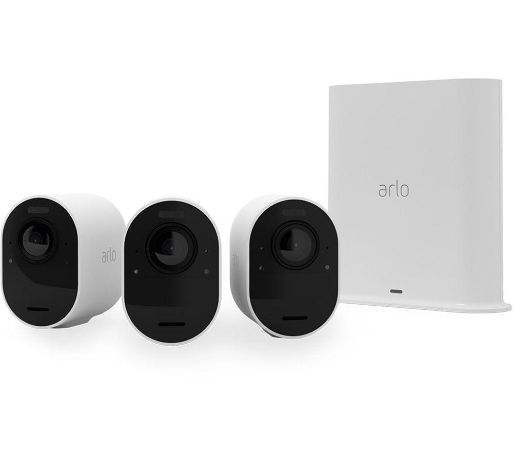ARLO Ultra 2 4K Ultra HD WiFi Security Camera System - 3 Cameras, White