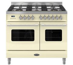 BRITANNIA Delphi RC10TGDECR Dual Fuel Range Cooker - Gloss Cream & Stainless Steel