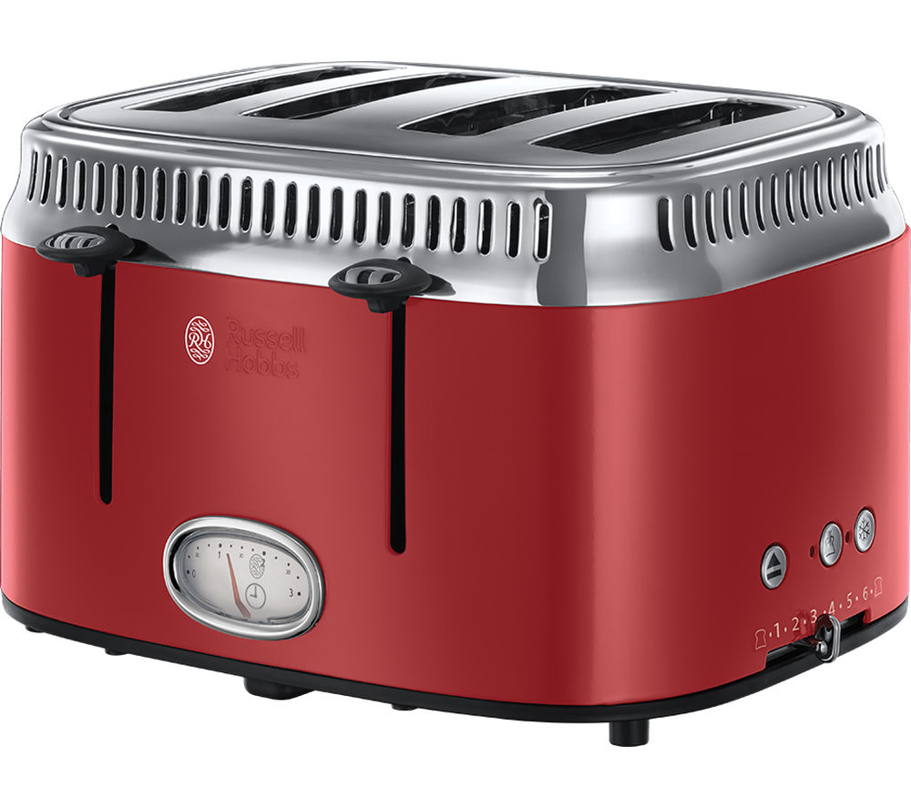 buy russell hobbs retro red 4sl 21690 4 slice toaster red free delivery currys. Black Bedroom Furniture Sets. Home Design Ideas