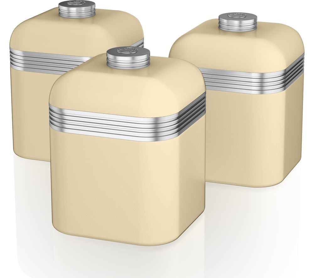SWAN Retro SWKA1020CN 1-litre Canisters - Cream, Pack of 3