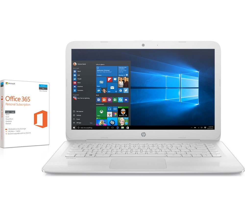 "HP Stream 14-ax054sa 14"" Laptop - White + Office 365 Home - 1 year for 5 users + LiveSafe Premium 2018 - 1 user / unlimited devices for 1 year"