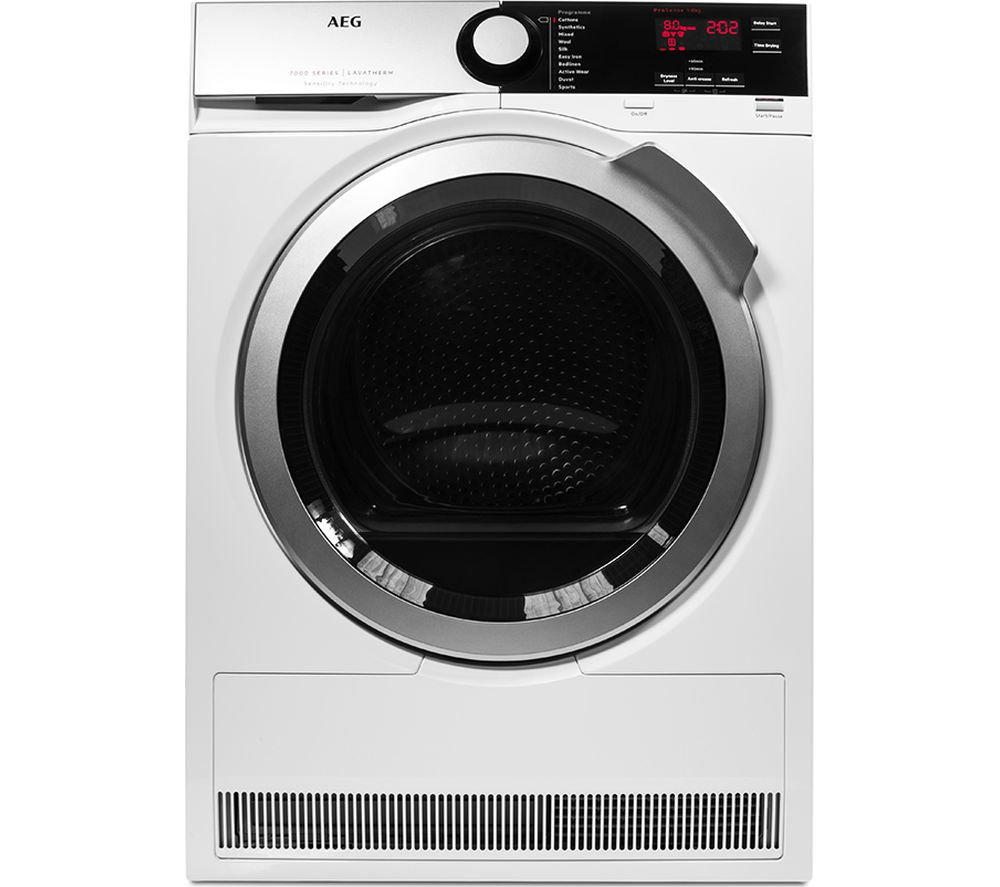 Cheapest price of Aeg SensiDry T7DEE835R Heat Pump Condenser Tumble Dryer in new is £549.00