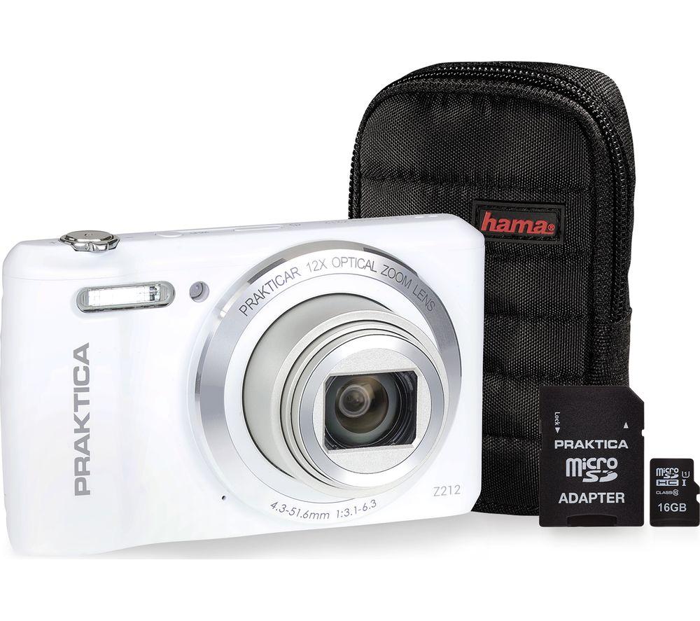 PRAKTICA Luxmedia Z212-W Compact Camera, Case & 16 GB Memory Card Bundle - White