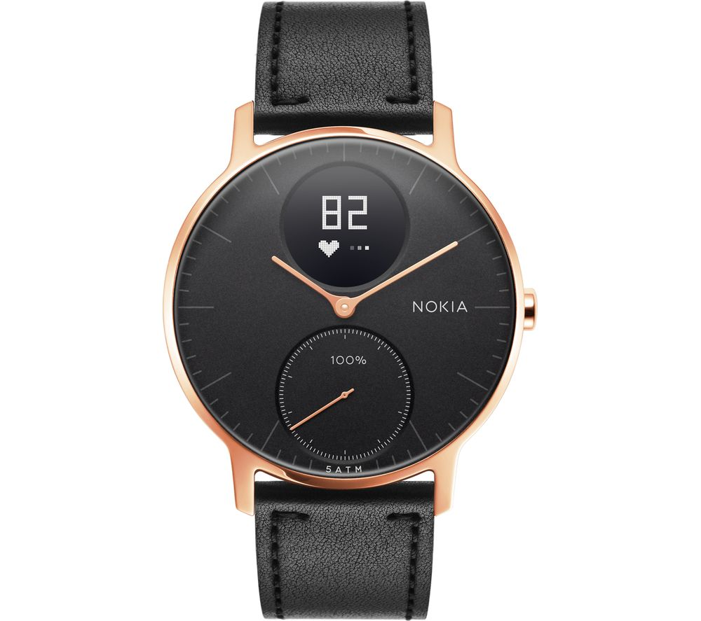 WITHINGS Steel HR 36 Fitness Watch - Rose Gold & Black, Leather Strap
