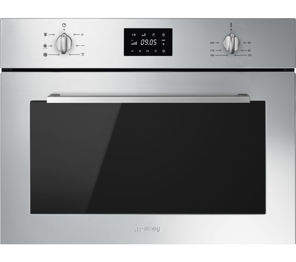 SMEG Cucina SF4400MCX Built-in Compact Combination Microwave - Stainless Steel, Stainless Steel