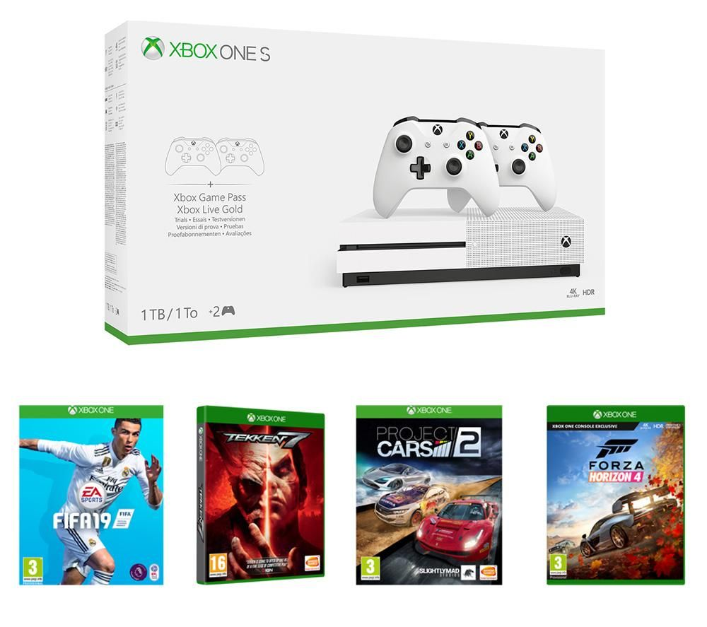 MICROSOFT Xbox One S with Forza Horizon 4, FIFA 19, Project Cars 2 & Tekken 7 Bundle