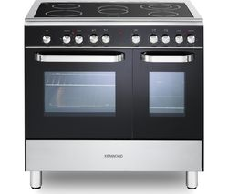 KENWOOD CK408-2 90 cm Electric Ceramic Range Cooker - Black & Chrome Best Price, Cheapest Prices