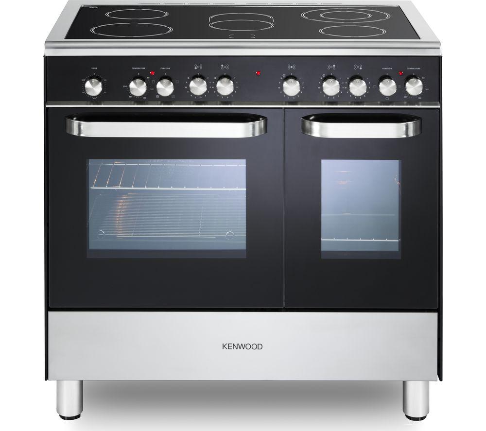 KENWOOD CK408-2 90 cm Electric Ceramic Range Cooker - Black & Chrome