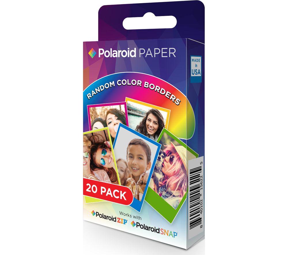"POLAROID 2x3"" ZINK Zero Ink Paper - Rainbow, 20 Sheets"