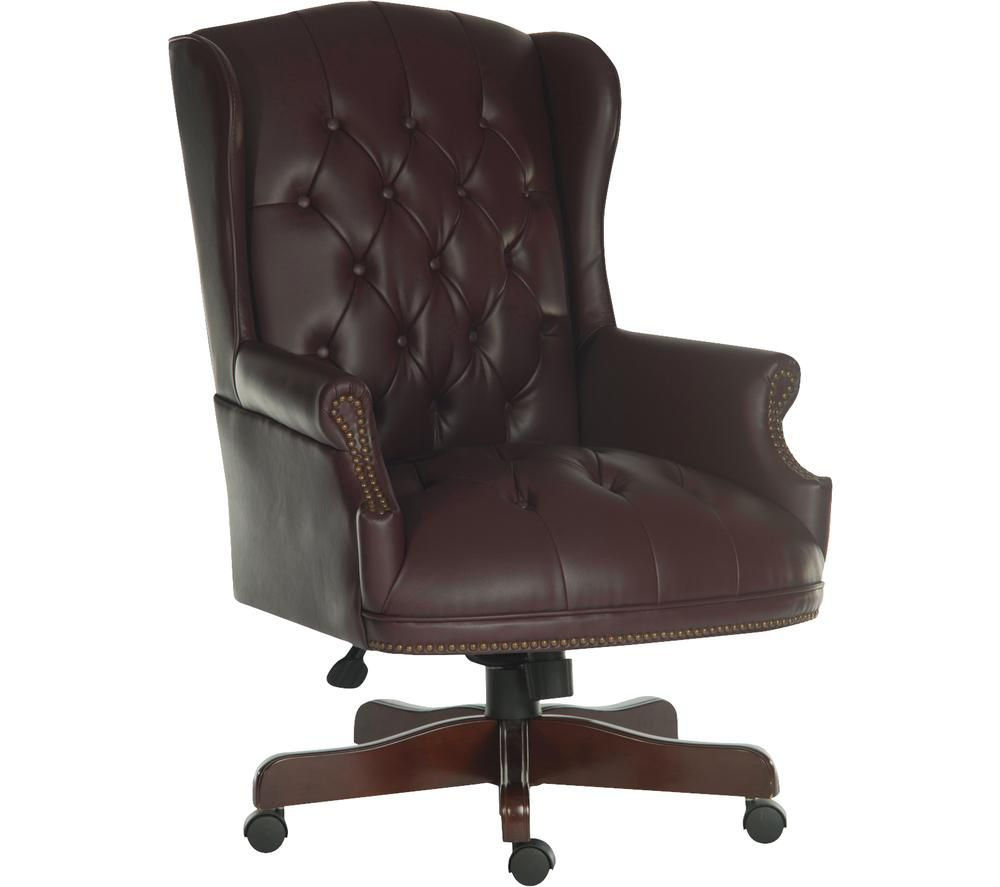 Image of Chairman Bonded-leather Tilting Executive Chair - Burgundy