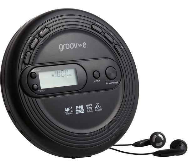 Image of GROOV-E Retro GV-PS210-BK Personal CD Player with Radio - Black, Black