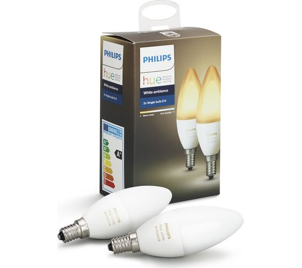buy philips hue white ambiance wireless bulb twin pack e14 free delivery currys. Black Bedroom Furniture Sets. Home Design Ideas
