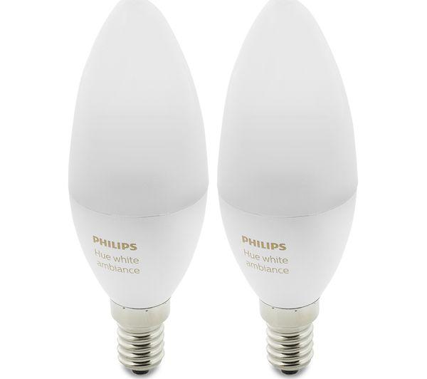 Philips Hue E14.Buy Philips Hue White Ambiance Wireless Bulb Twin Pack E14 Free