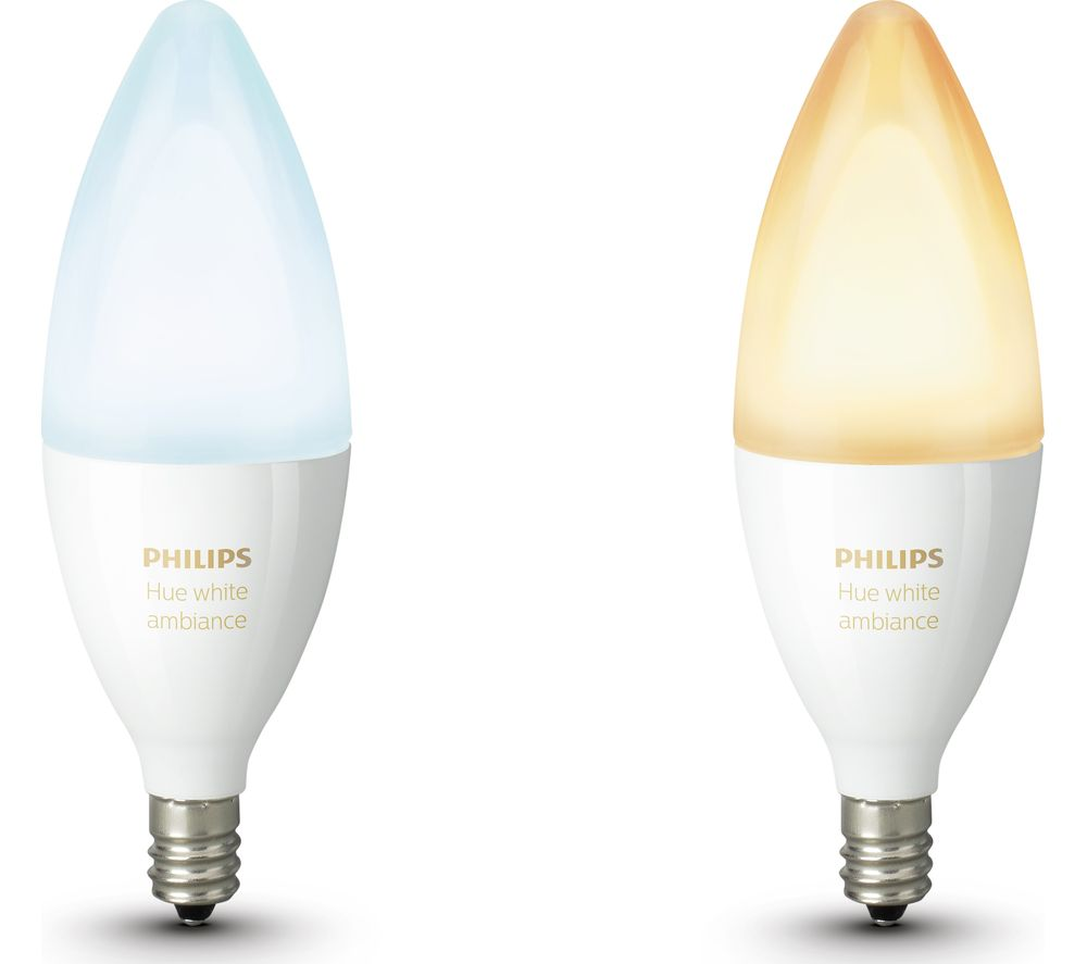 PHILIPS Hue White Ambiance Wireless Bulb Twin Pack - E14