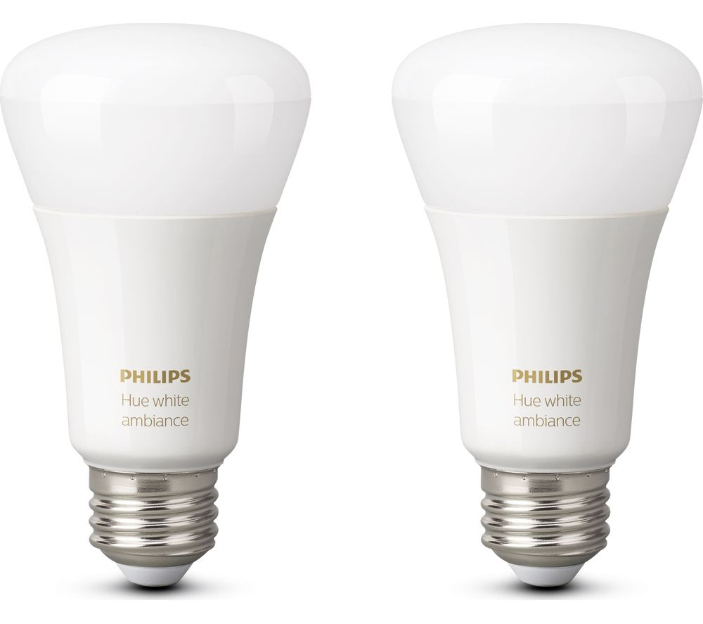 PHILIPS Hue White Ambience E27 Wireless Bulb - Twin Pack