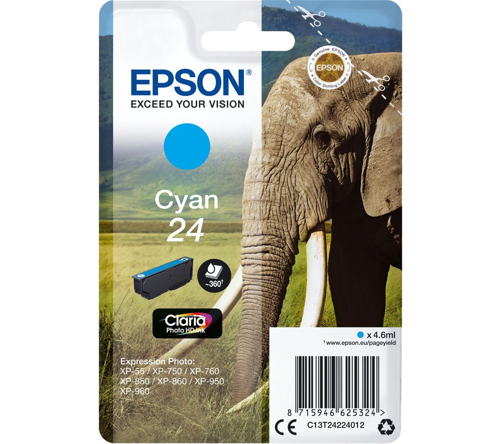 EPSON 24 Elephant Cyan Ink Cartridge