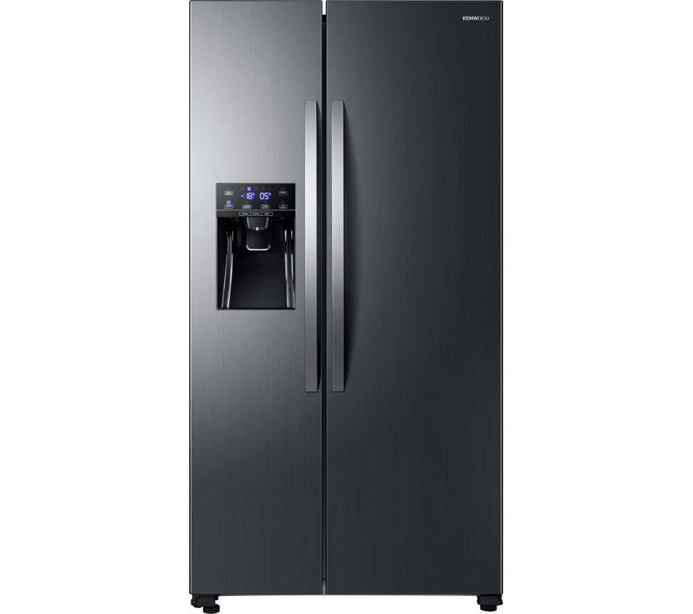 KENWOOD American-Style Fridge Freezer Black Steel KSBSDIT18, Black