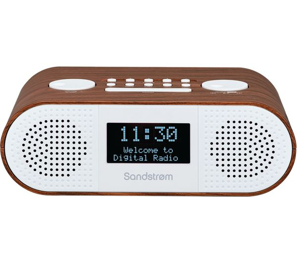 Image of SANDSTROM S-DBTW18 DAB+/FM Bluetooth Clock Radio - Wood
